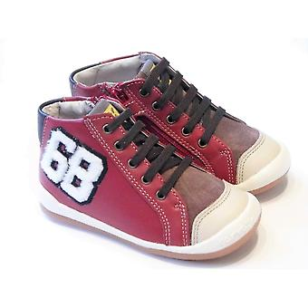 Garvalin Boys Red Leather High Top Boots With Inside Zip