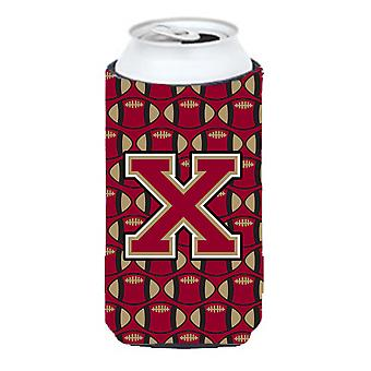 Letter X Football Garnet and Gold Tall Boy Beverage Insulator Hugger