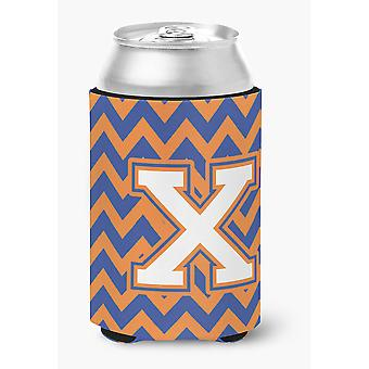 Letter X Chevron Blue and Orange #3 Can or Bottle Hugger