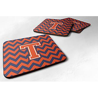Set of 4 Letter T Chevron Orange and Blue Foam Coasters Set of 4