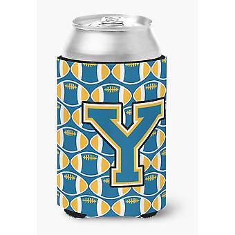 Letter Y Football Blue and Gold Can or Bottle Hugger
