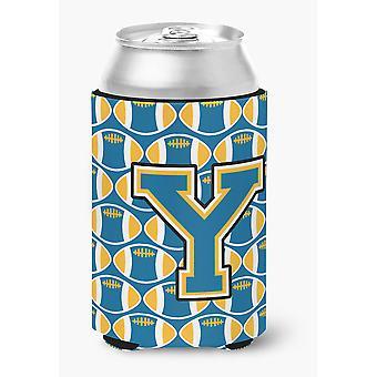Litera Y piłki nożnej niebieski i złoty puszka lub butelka Hugger