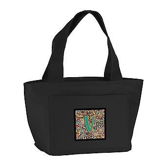 Lettera V Retro alfabeto tribale iniziale Lunch Bag