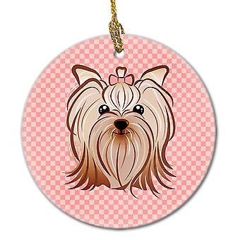 Checkerboard Pink Yorkie Yorkishire Terrier Ceramic Ornament
