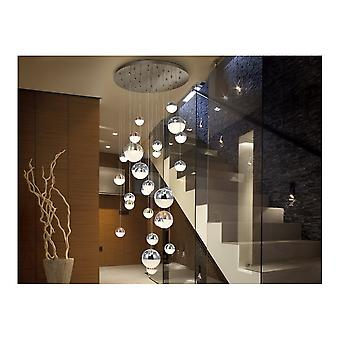 Schuller Contemporary Art Deco Chrome Ceiling Cascade Pendant Of Spherical LED Balls On Fine Wires