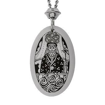 Handmade Saint Brendan Oval Shaped Porcelain Pendant ~ 18+4 inch extender Chain