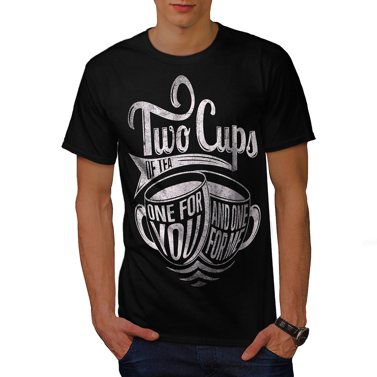 Two Cups Of Tea Slogan Men Black T-shirt | Wellcoda