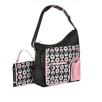 Large Baby Changing Bag, Grey Pink Asymmetric