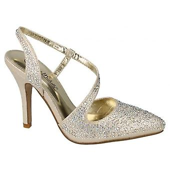 Ladies Womens Sling Back Cut Out Stilleto Heel Diamnate Sandals Shoes