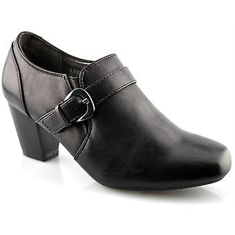 Ladies Womens Mid Heel Slip On Casual Work Office Courts Boots Shoes
