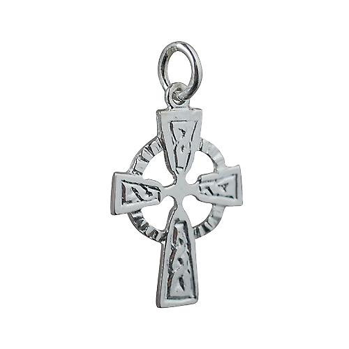 Silver 22x16mm Celtic embossed pattern Cross