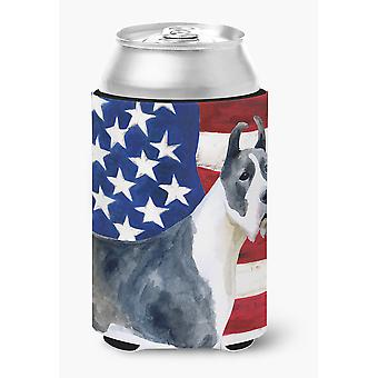 Harlequin Great Dane Patriotic Can or Bottle Hugger