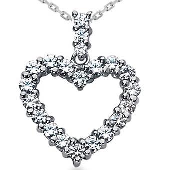 2ct HUGE Diamond Heart Pendant 14K White Gold