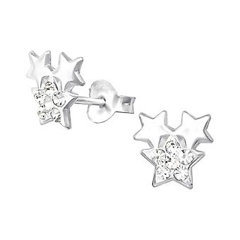 Triple Star - 925 Sterling Silver Crystal Ear Studs
