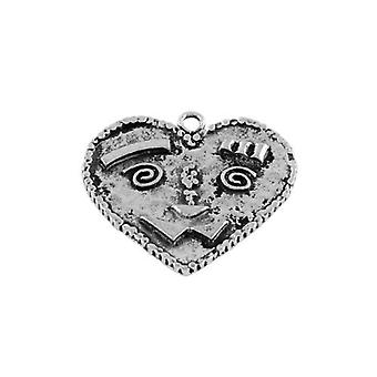 Packet 3 x Antique Silver Tibetan 37mm Heart Charm/Pendant ZX16535