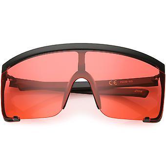 Oversize Semi uten innfatning skjold solbriller farge farget Mono linsen 81mm