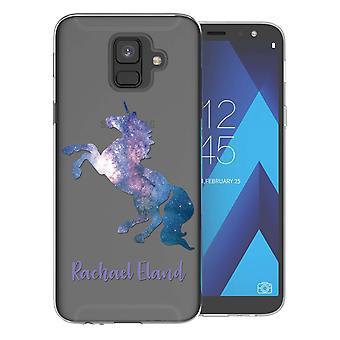 Samsung A6 (2018) blaue Einhorn personalisiert TPU Gel Fall