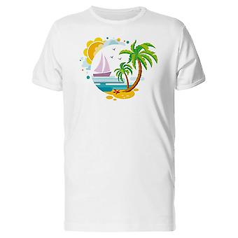 Palm Island With Boat Art Tee Men's -Image by Shutterstock
