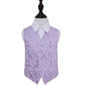 Lilac Floral Wedding Waistcoat for Boys