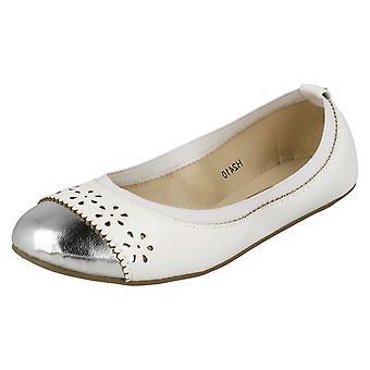 Девочек пятно на металлических мыска балерина обувь H2410