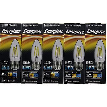 5 X Energizer LED Filament Candle ES E27 4W = 40W 470lm Warm White Screw Cap Bulb  [Energy Class A+]