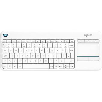 Logitech Wireless K400 Plus Wireless keyboard White Built-in touchpad, Mouse buttons