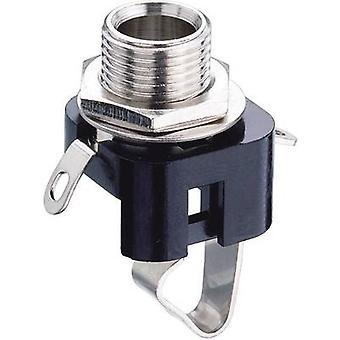 6.35 mm audio jack Socket, vertical vertical Number of pins: 2 Mono Black Lumberg KLBM 3 1 pc(s)