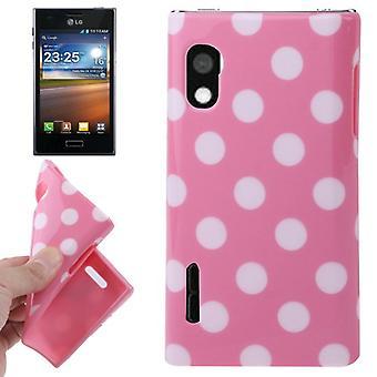 Schutzhülle TPU Punkte Case für Handy LG Optimus L5 / E610 rosa
