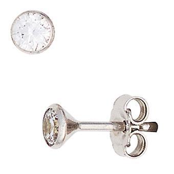 333 Stud Earrings Gold White Gold 2 cubic zirconia earrings gold