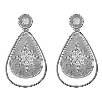 Star Burst Teardrop Stud boucles d'oreilles CZ en argent Sterling 925 goutte Dangle bijoux
