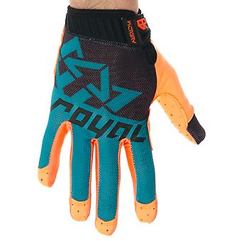 Royal Racing Black-Teal-Orange Victory MTB Gloves