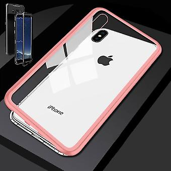 Apple iPhone XS MAX 6.5 inch magnet / metal / glass Case Bumper Rosa-transparent bag shell new