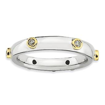 3.25mm Sterling Silver Bezel Rhodium-plated Stackable Expressions Polished Diamond Ring - Ring Size: 5 to 10