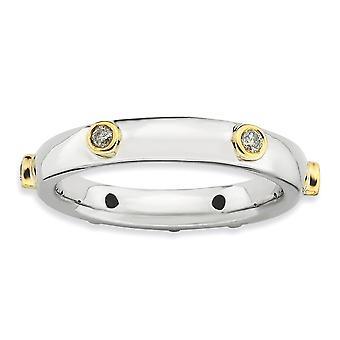 3,25 mm argent Sterling lunette plaquée Rhodium empilable Expressions polies diamant bague - bague taille: 5 à 10