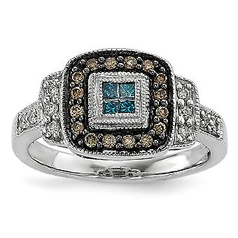 Sterling Silver Gift Boxed Cut-out sides Rhodium-plated Antiqued Square White Champagne and Blue Diamond Ring - Ring Siz