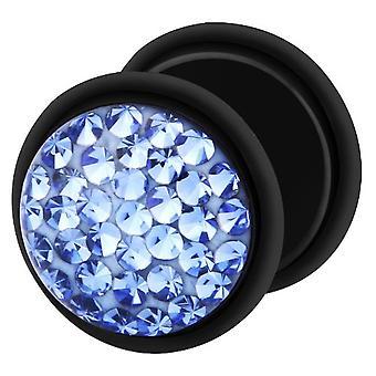 Falske snyder øret Plug sort, ørering, krop smykker, med Multi Crystal Sapphire Blue