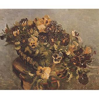 Tambouring with Pansies,Vincent Van Gogh,46x55.5cm