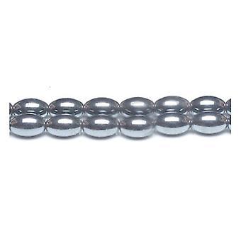 Strand 30+ Grey Hematite (Non Magnetic) 8 x 12mm Plain Rice Beads GS12549-4