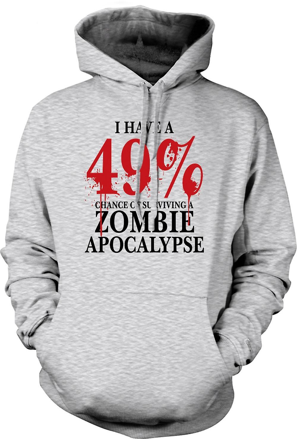 Mens Hoodie - Zombie Apocalypse 49% - Horror Funny