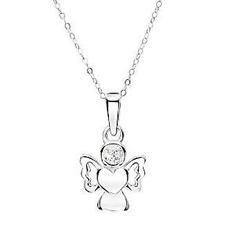 Jo For Girls Sterling Silver April Simulated Birthstone Angel Pendant Necklace