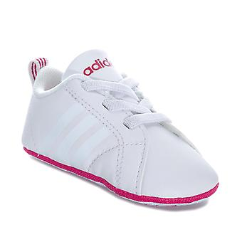 Baby adidas Vs Advantage Crib Shoes In White Pink- Elasticated Laces- Soft Sole-