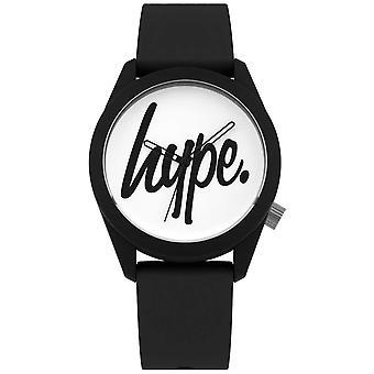 Hype   Black Silicone Strap   White Dial   HYU001B Watch