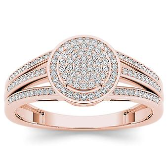 IGI Certified Natural 10k Rose Gold 0.33 Ct Diamond Cluster Engagement Ring