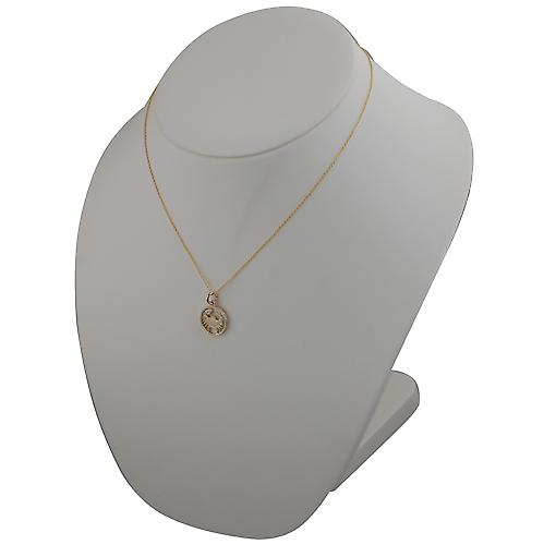 9ct Gold 11mm pierced Cancer Zodiac Pendant with a cable Chain 18 inches