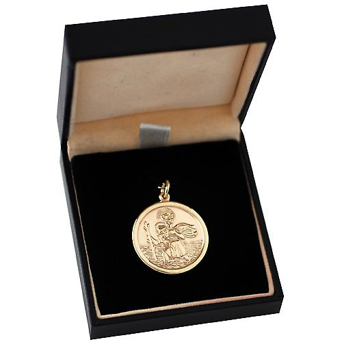 9ct Gold 26mm round solid St Christopher Pendant
