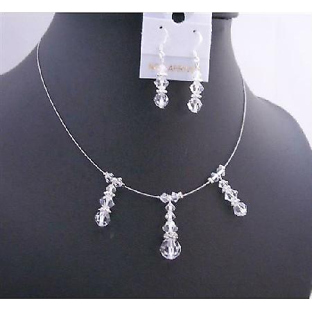 Bridesmaid Handcrafted Jewelry Swarovski Clear Crystals Necklace Set