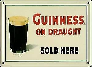 Guinness on Draught (glass) metal postcard / mini sign  (hi ls)