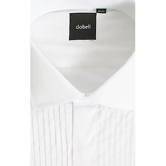 Dobell Mens weißen Smoking Dress Shirt regelmäßig Fit Standard Kragen Doppel-Ärmel Plissee Fly vorne