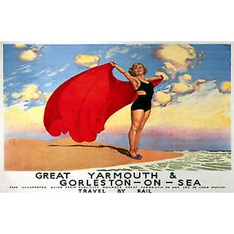 Great Yarmouth & Gorleston (old rail ad.) mounted print