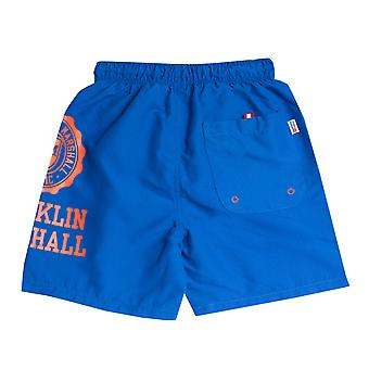 Junior Boys Franklin And Marshall Core Logo Swim Short In Blue-Ribbed